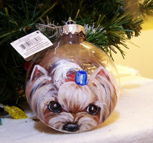 hand painted Yorkie on  Christmas Ornament original art OOAK