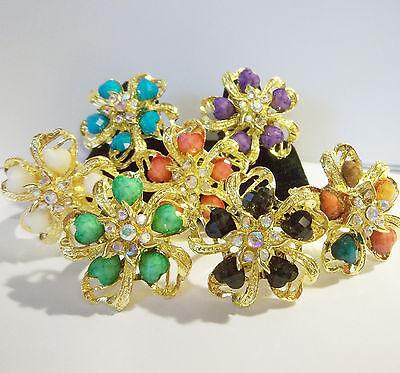 (Flower Heart Rhinestone Big Adjustable Adult Fashion Trendy Gold Tone Ring )
