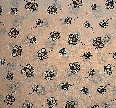 Buzzing Bumble Bees on Kraft Tan Background - Tissue Paper  / Gift Paper