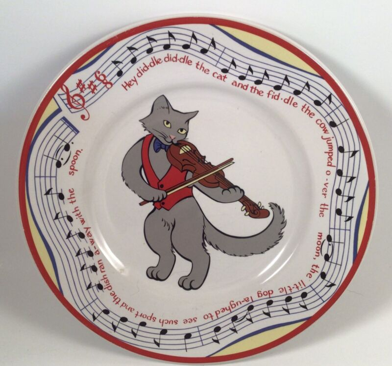 Tiffany & Co Grey Cat Fiddle Hey Diddle Child Baby Plate