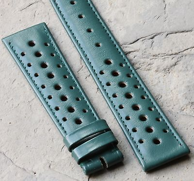 Racing green 20mm leather perforated 1960s/70s vintage watch strap Swiss 7 sold for sale  Shipping to India