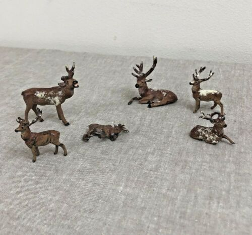 Lot of 6 Vtg Lead Metal Christmas Miniature Figures Stag Deer Reindeer Flaws