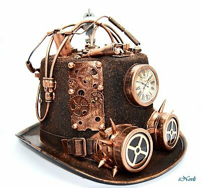 Top Hat Halloween (Steampunk Copper Top Hat Halloween Costume Cosplay Party With Goggles and)