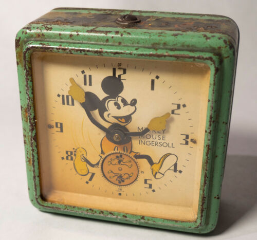 Rare Variety 1933 Ingersoll UK MICKEY MOUSE Wind-Up Clock Works