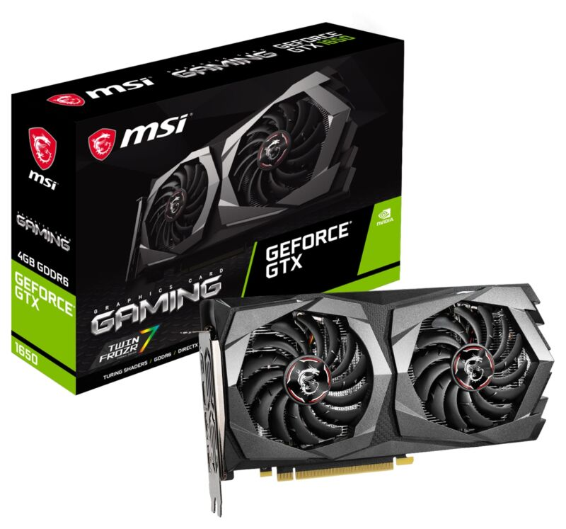 MSI GeForce GTX 1650 D6 GAMING Graphics Card, GDDR6, PCI-E x16, No SLI, 4K HDR