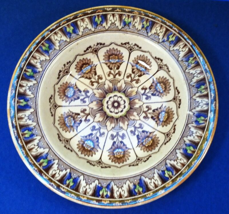 Antique Transferware Cyprus Pattern Hand Painted Dish