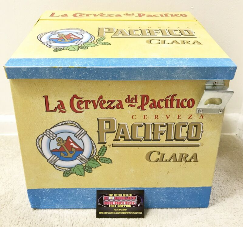 Pacifico Clara Cerveza Beer Metal Cooler Ice Chest - Used Nice RARE!
