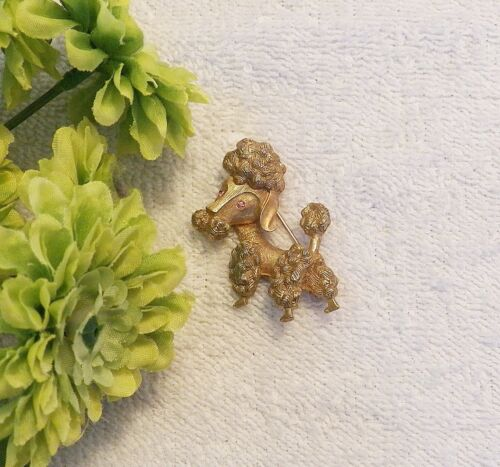 PIN BROOCH HAPPY DOG POODLE DALMATIAN PUPPY PET CANINE TERRIER DARK GOLD TON DS3