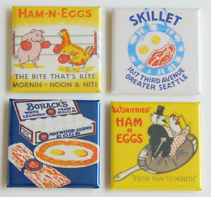 Ham-Eggs-FRIDGE-MAGNET-Set-matchbook-bacon-pig-chicken-frying-pan-breakfast