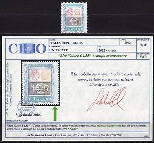 104-Repubblica-1-55-euro-2002-Nuovo-MNH-Varieta-certificato-Cilio