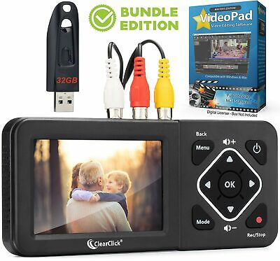 ClearClick Video to Digital Converter 2.0 Second Gen VHS Camcorder Tapes Bundle