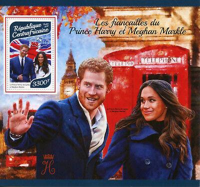 Central Afr Rep 2017 MNH Prince Harry & Meghan Engagement 1v S/S Royalty Stamps