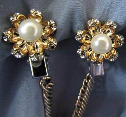 Vintage Rhinestone Faux Pearl & Gold Tone Sweater Dress Scarf Guard Clip (20