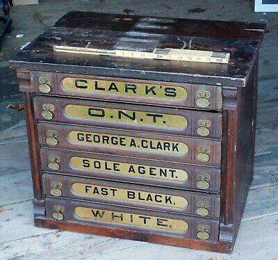"Clark/'s /""Black/"" Spool Cabinet Decal thread vintage antique old sticker"