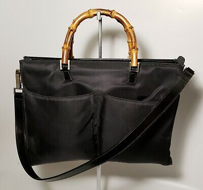 Auth Gucci black nylon bamboo Tote with shoulder Hand Bag
