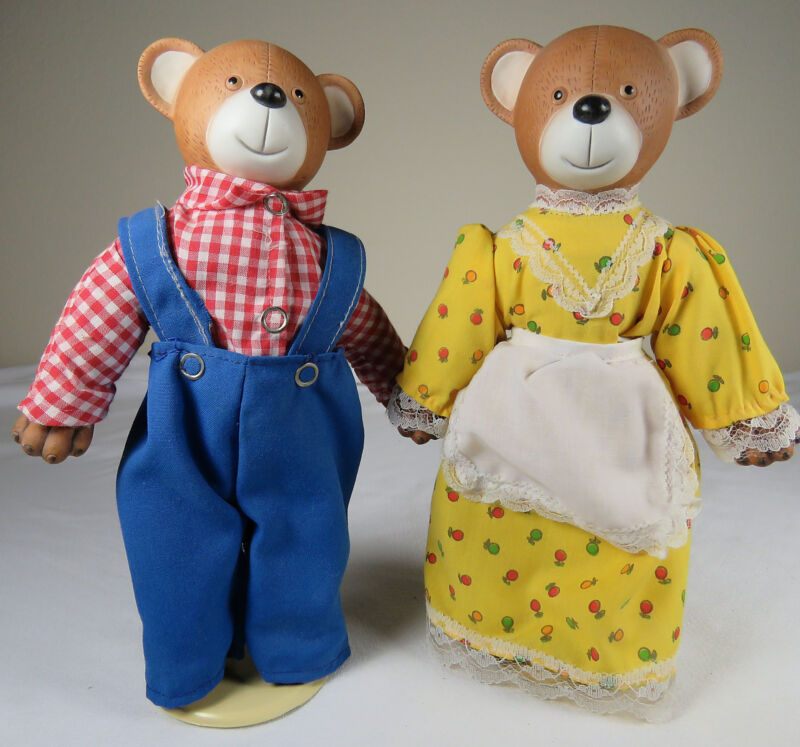 Cute Country Bear Couple Stuffed with Stands, Resin Head, Hands & Feet