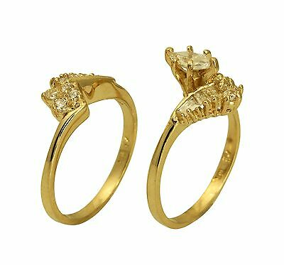 Gold Duo Band Ring - 2.00 Ct 14K Yellow Gold Marquise Engagement Promise Ring Matching Band Duo Set