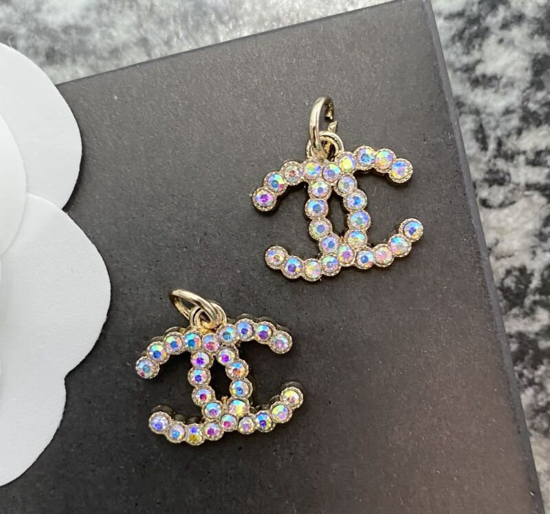 Set Of 2 Stamped CHANEL AB Colored Rhinestone Gold Metal Zipper Pull 20mm