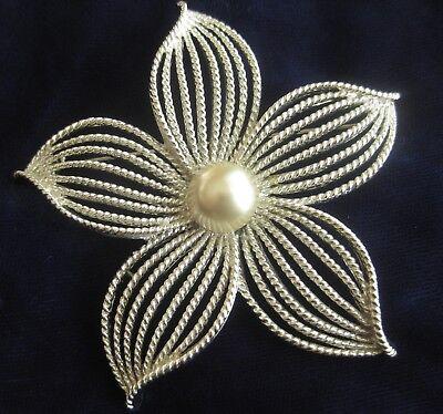 "Huge Vintage 3"" Diameter PEARL FLOWER Pin BROOCH by SARAH COVENTRY Silver-tone"