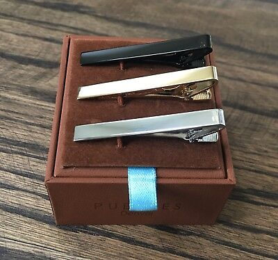 "3 Pc Mens Tie Bar Set, Pinch Clasp, 2.1"" (Silver, Black, Gold) by Puentes Denver"