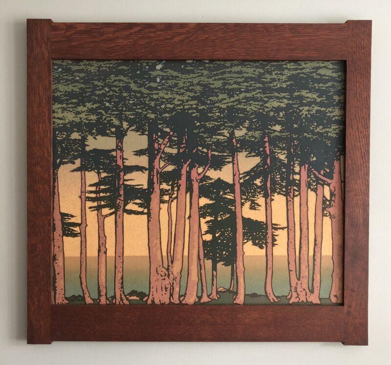 Mission Style Quartersawn Oak Arts & Crafts Framed Print- Lands End