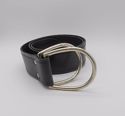FOSSIL  Authentic Women's Black Genuine Leather Belt Silver Tone Buckle Size  S