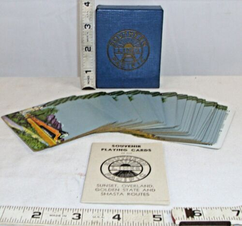 SOUTHERN PACIFIC RAILROAD SOUVENIR PLAYING CARDS DECK BOXED 1930s