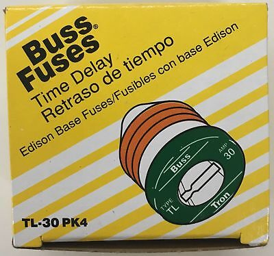 Bussman Tl-30pk4 Box Of 4 30 Amp Edison Base Plug Fuse
