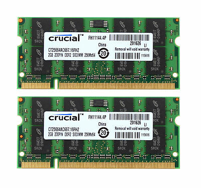 667 Sodimm Speicher (Crucial 4GB 2X 2GB 2RX8 PC2-5300S DDR2 667Mhz 200Pin Laptop Speicher RAM SODIMM)