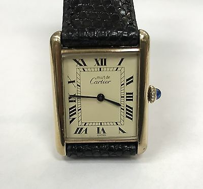 "Vintage Cartier Tank  Paris ""Must de"" Argent 925 Manual Wind Lady's Watch"