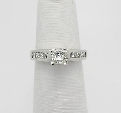 Zales 1CT Princess Cut Diamond Engagement Wedding Ring 14K White Gold