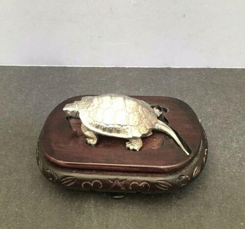 Japanese Taisho Solid Silver .970 Okimono - Turtle