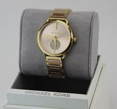 NEW AUTHENTIC MICHAEL KORS PORTIA CRYSTALS ROSE GOLD WOMEN'S MK3706 WATCH