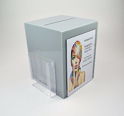 Suggestion Box / Collection Box with Leaflet + Poster Holder PDS9470A4 Grey