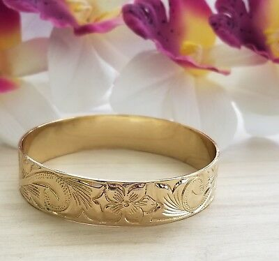 - 15mm Gold Hawaiian Heirloom Engraved Bangle Bracelet