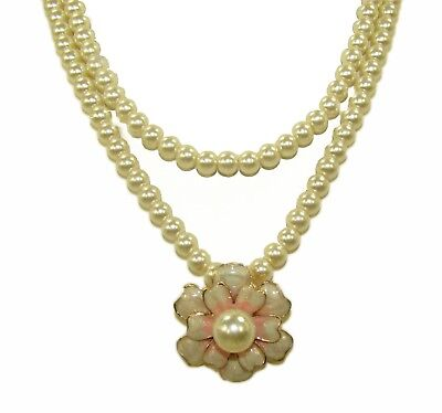 Double Row Pearl Necklace with Enamel Flower Pendant Double Row Drop Necklace