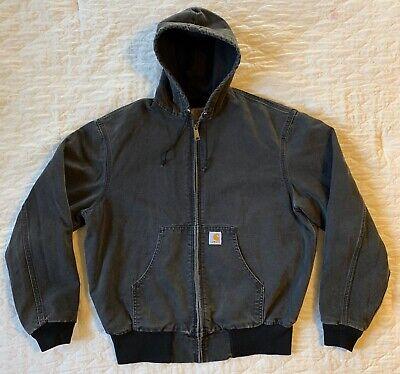 Carhartt Vintage USA Jacket Black Hooded Work Heavy Coat Men's Hoodie *Best
