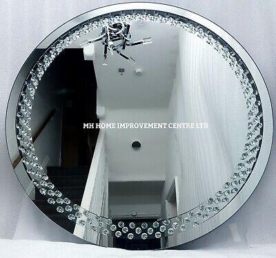 Brillante Flotante Cristal Plateado Redondo Espejo de Pared 70cm Recibidor Salón