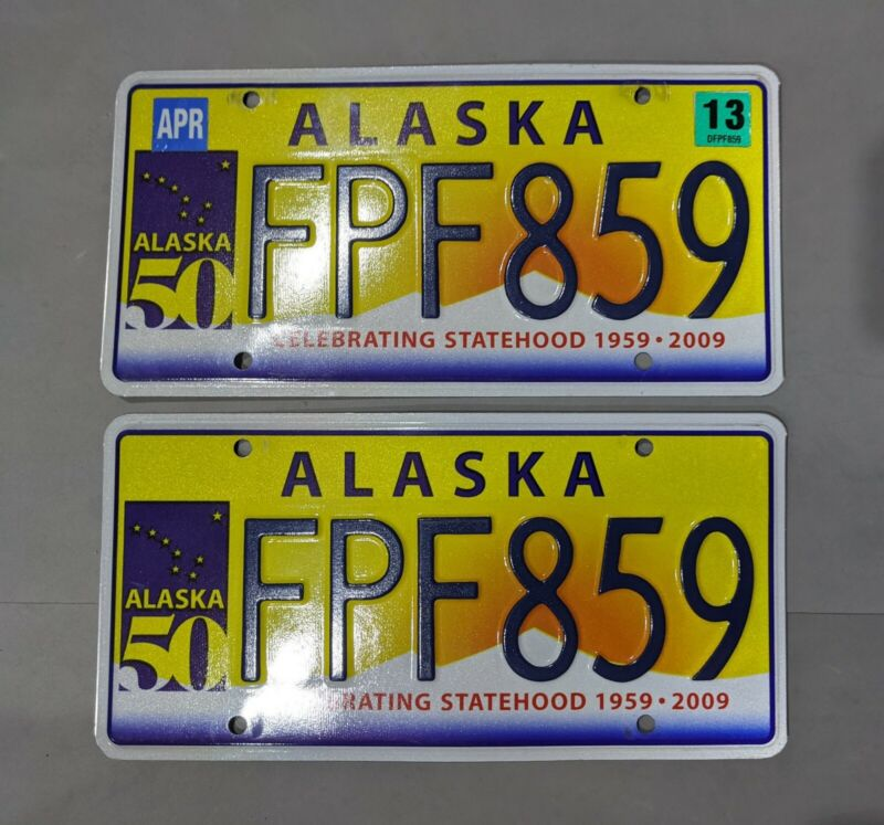 "Alaska ""Celebrating Statehood"" license plate matched pair - 2009 - 50 years!"