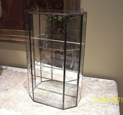 """Vintage Brass & Etched Glass Two Shelf Mirror Curio Display Cabinet - 15"""" Tall"""
