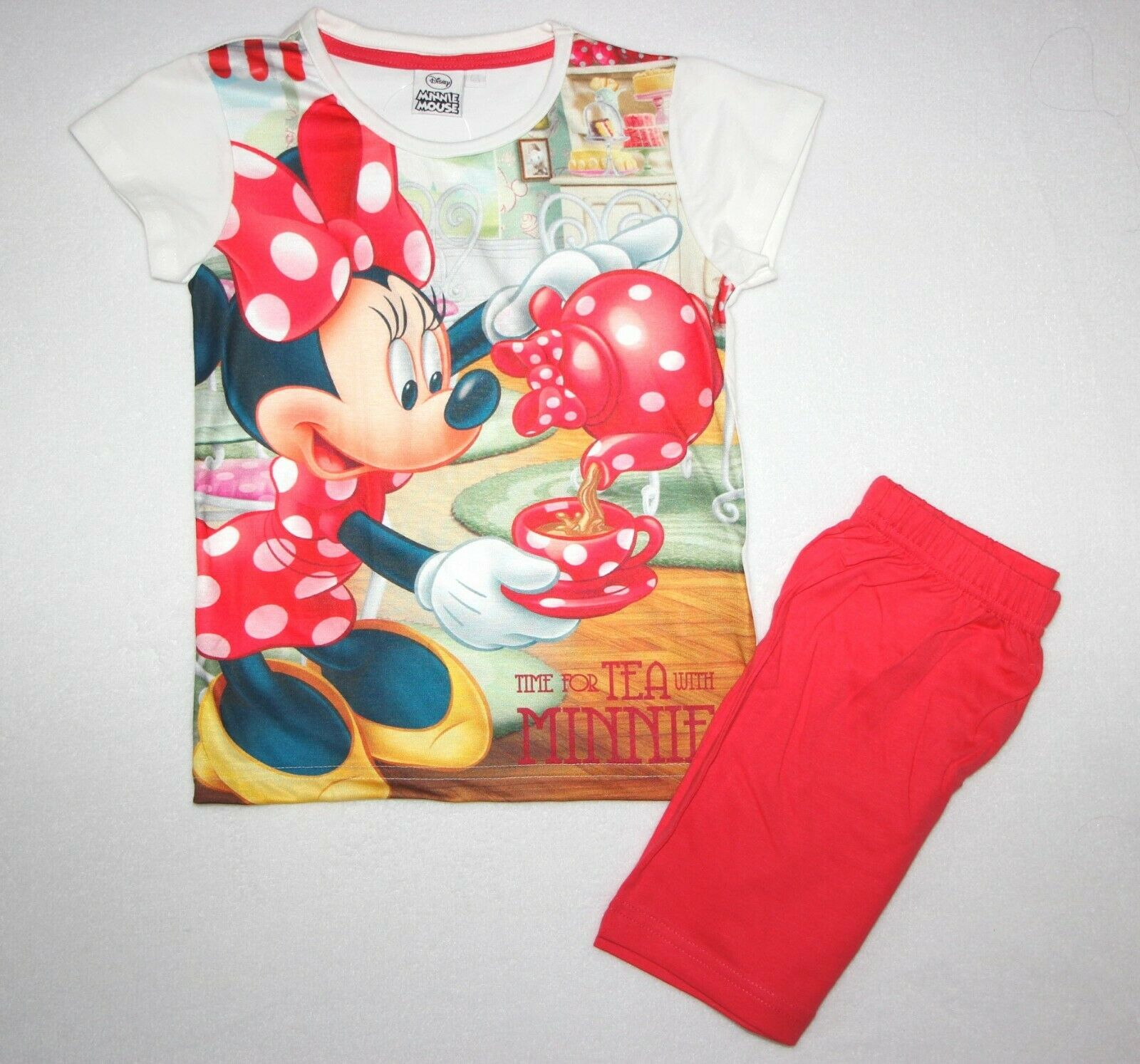 "Pyjashort MINNIE ""time for tea with Minnie"" rouge"