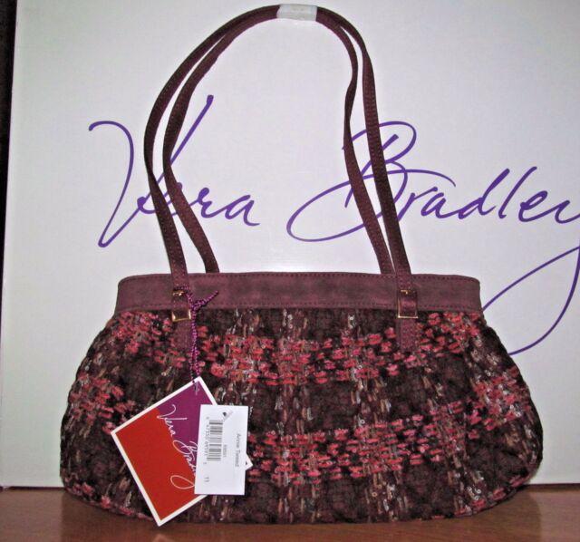 Vera Bradley Annie Tweed Handbag Purse Maroon Suede Pink | eBay