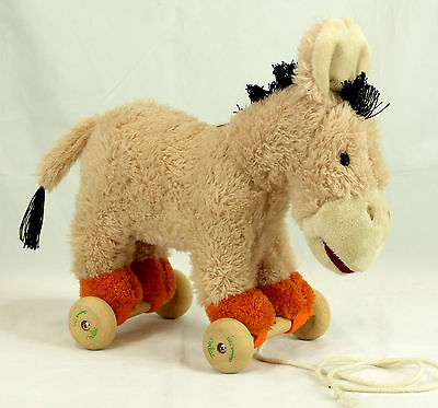 Donkey Pull Toy - 232 Vilac Depuis 1911 pull along toy wood & faux fur Donkey EUC