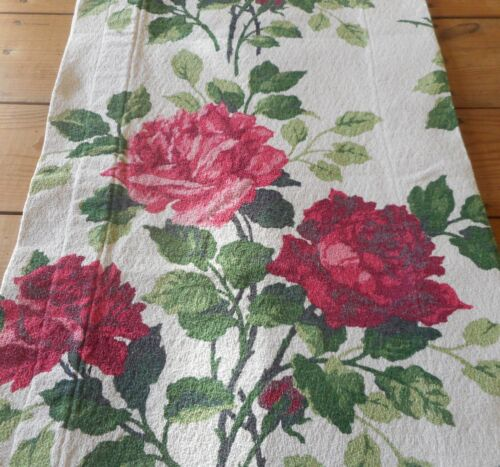 Antique Vintage Shabby Cottage Roses Floral Barkcloth Cotton Fabric Valance ~
