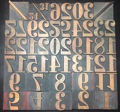 1 58 Wood Type Print Blocks Vintage Letterpress Numbers Symbols