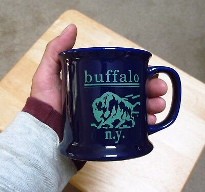 Cobalt Ceramic Mug - Buffalo NY ceramic Mug Cobalt Blue shaving cream style