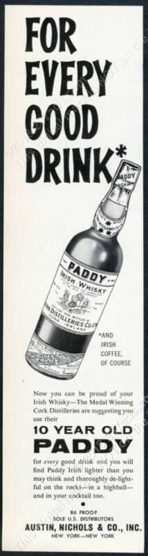 1963 Paddy Irish Whiskey bottle photo For Every Good Drink vintage print ad