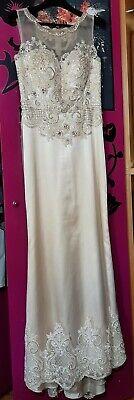 Vestito donna elegante lungo chiaro beige e avorio con ricami abito da cerimonia