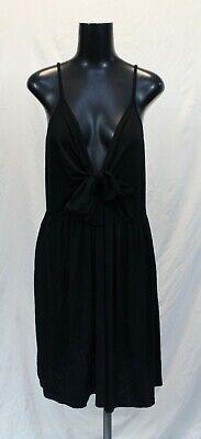 Boohoo Women's Plus Strappy Knot-Front Swing Dress LP7 Black Size US:20 UK:24