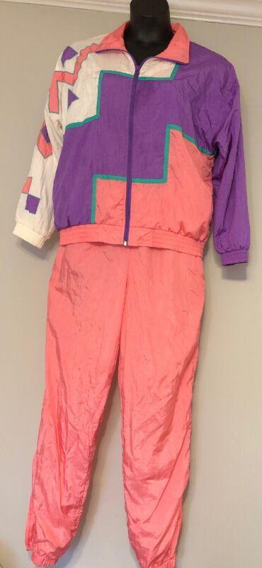 Lavon Tracksuit Large Jacket Pants Vintage Pink Purple Teal Lined LONG TALL